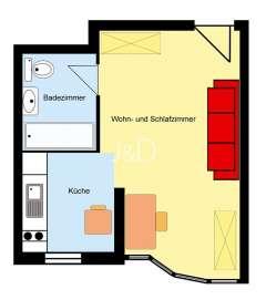 vermietetes 1-Zimmer-Apartement in Freiburg - Betzenhausen - Grundriss