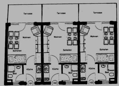 3 vermietete 1-Zimmer-Appartements nur